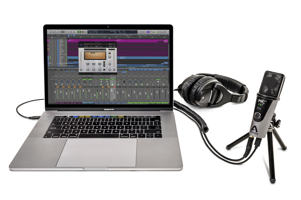 Apogee mic plus 3 quarters facing left macbookpro headphones tripod 1000x667
